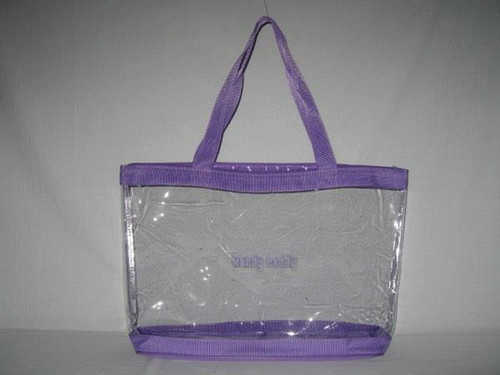 "Clear Vinyl Zippered Purple 18"" Tote fits Handy Caddy Deluxe"
