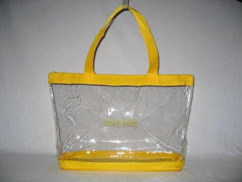 "Clear Vinyl Zippered Yellow Tote 18"" fits Handy Caddy Deluxe"