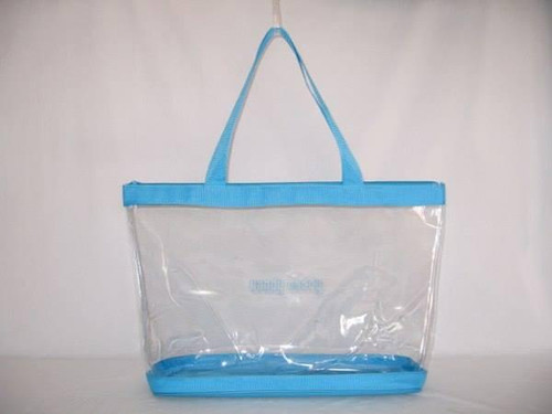 "Clear Vinyl Zippered Turquoise Tote 18"" fits Handy Caddy Deluxe"