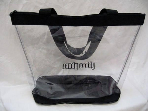 """Clear Vinyl Zippered Black Tote 13"""" fits Handy Caddy Deluxe"""