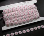 "Venise Lace 1/2"" White & Pink Daisy 10 Yards"