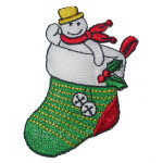 Iron On Patch Applique - Snowman in Stocking