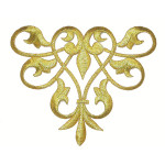 Iron On Patch Applique - Decorative Swirl Metallic Gold
