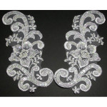 Collar Appliques Bridal Beaded L & R WHITE