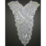 Bridal Applique WHITE Large Beaded