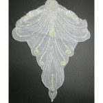 Bridal Applique ANTIQUE WHITE Large Beaded