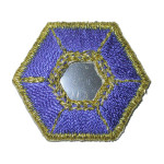 Iron On Patch Applique - Hexagon Mirrored Blue