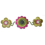 Iron On Patch Applique - Flower Trio with Mirror