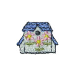 Iron On Patch Applique - Bird House Pack 10 Blue