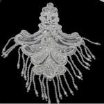 Yoke Applique Embroidered Beaded - White.