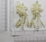 Bridal Pearl Dangle Leaf Appliques Ivory 1 Pair