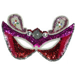 Sequin Applique - Mardi Gras Mask Pink - Face Size