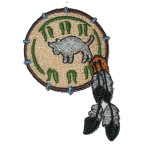 Iron On Patch Applique - Indian Feather / Buffalo
