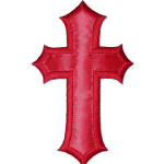 Iron On Patch Applique - Cross Large Satin RED