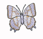 "Iron On Patch Applique - Butterfly 1 1/4"" Blue & Tan"