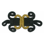 Frog Closure Large Black & Gold