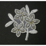 Iron On Patch Applique - Floral Spray Off White & Metallic Gold Beaded
