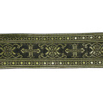 "Jacquard Ribbon 2 1/4"" Black & Metallic Gold Gothic"