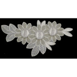 Iron On Patch Applique - Floral Spray Off White & Metallic Gold Beaded 5
