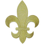 "Iron On Patch Applique - Fleur De Lys Metallic Gold 5 7/8"" tall"