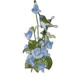 Iron On Patch Applique - Blue Hummingbird in Flower Spray