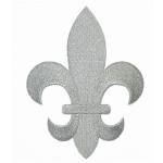 "Iron On Patch Applique - Fleur De Lys Metallic Silver 5 7/8"" tall"