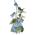 Iron On Patch Applique - Blue Hummingbird in Flower Spray.