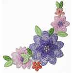Iron On Patch Applique - Cottage Garden Floral Spray,