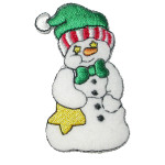 Iron On Patch Applique - Snowman Green Bow Tie