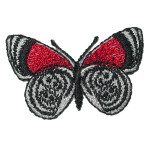 Iron On Patch Applique - Butterfly Black Red & White
