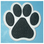 "Iron On Patch Applique Paw Print Medium 3"" White"