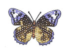 """Iron On Patch Applique - Sequin Butterfly 2 3/4"""" Gold & Purple"""