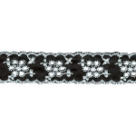 "Eyelet 7/8"" Black with White 15 Yards"