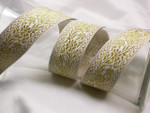 "Jacquard Ribbon 1 7/16"" White & Metallic Gold Floral Per Yard"