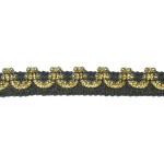 "Braid 7/16"" Black & Gold Metallic with Beads 10 Yards"