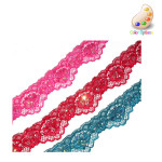 "Stretch Lace 1 1/2"" Scalloped with Sequins *Colors* 5 Yards"