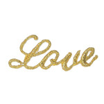Iron On Patch Applique - LOVE Metallic Gold Word