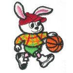 Iron On Patch Applique - Basketball Rabbit