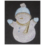 Iron On Patch Applique - Snowman White Blue Sparkle