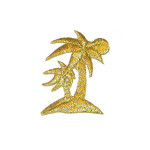 Iron On Patch Applique - Palm Trees Gold Metallic