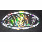 Iron On Patch Applique - Girls in Sequins White