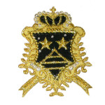 Iron On Patch Applique - Black & Gold Crest
