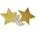 Iron On Patch Applique - Moon & Stars Metallic