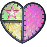 Iron On Patch Applique - Heart Green Yellow Pink