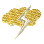 Iron On Patch Applique - Lightning Cloud Metallic