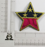 """Iron On Patch Applique - Hot Pink & Navy Star 3"""" (75mm)"""