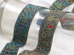 "Jacquard Ribbon 1 5/16"" (33mm)  Futuristic Multi Metallic Priced Per Yard"