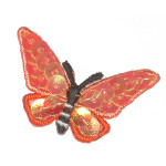 "Iron On Patch Applique - Butterfly Sequined 1 1/2"" Orange"