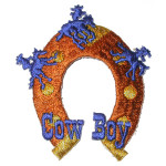 Iron On Patch Applique - Horseshoe Cowboy