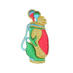 Iron On Patch Applique - Golf Bag Red/Yellow/Green
